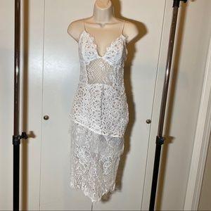 White Dress | Lace | Tiered | Midi